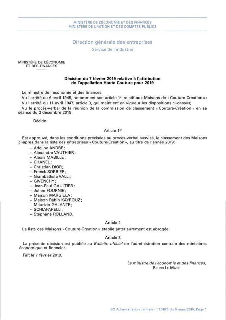 Décision du 7 février 2019 relative à l'attribution de l'appellation Haute Couture pour 2019