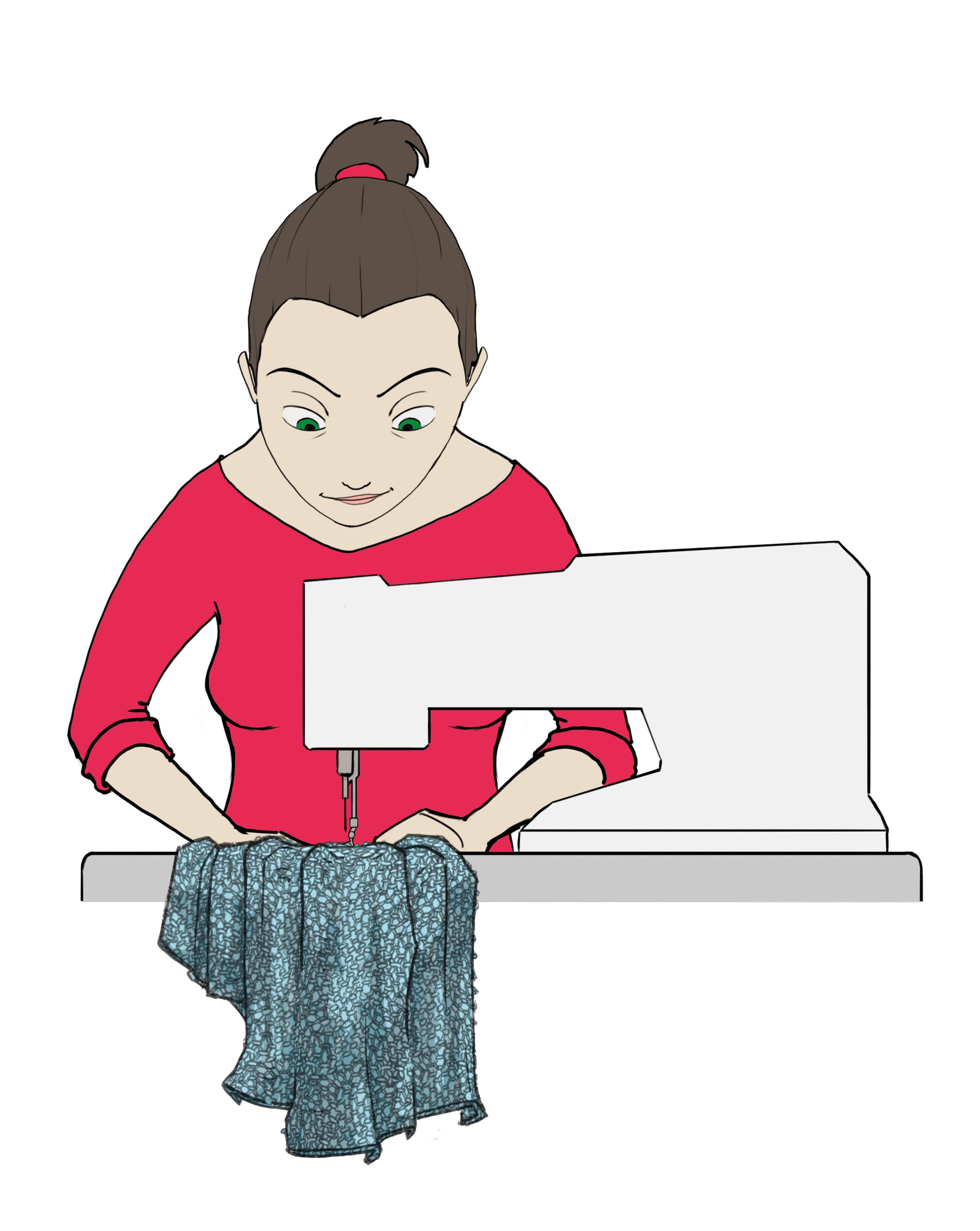Couture: illustration d'une couturière et sa machine à coudre
